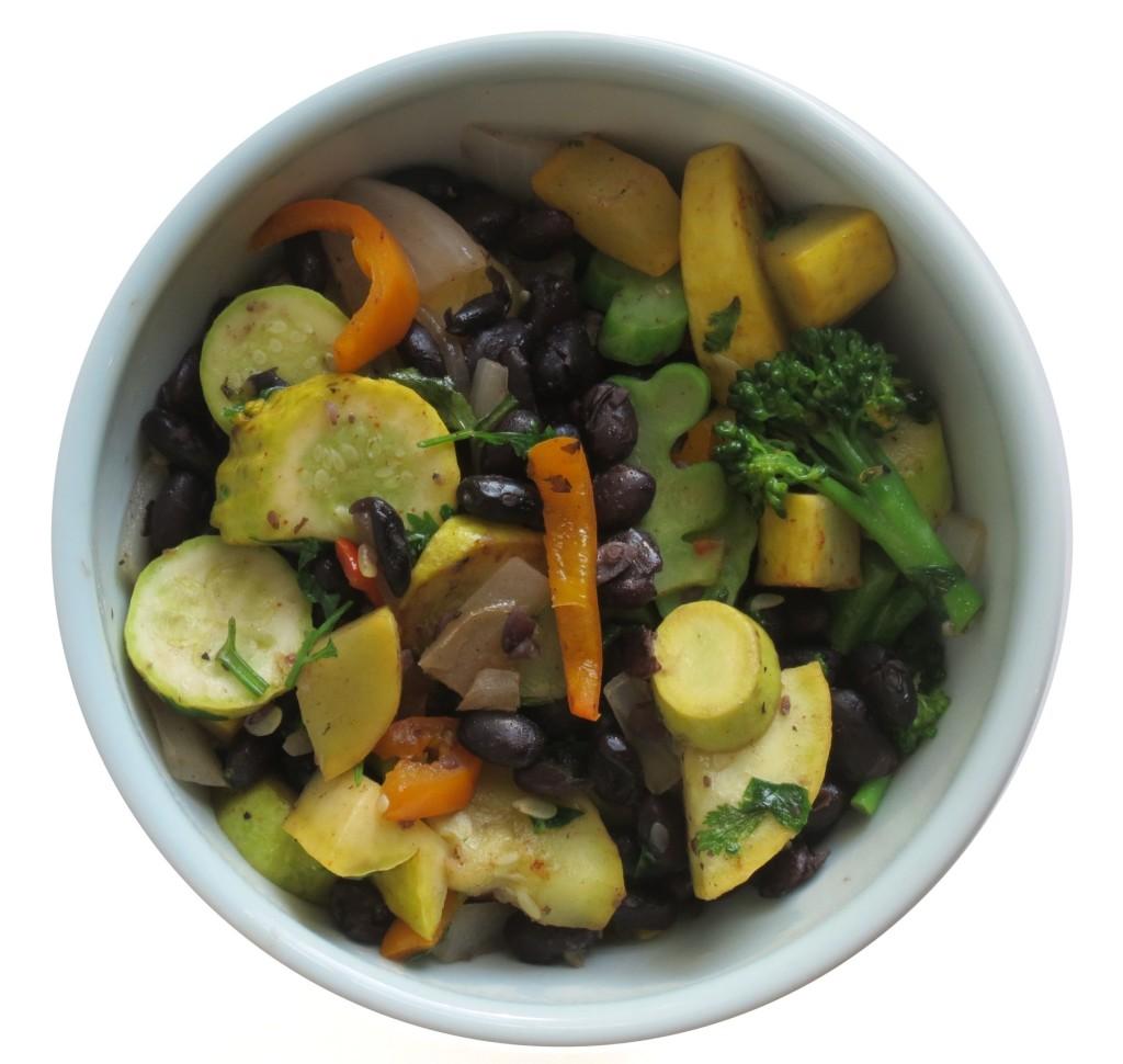 beans and veggies white background